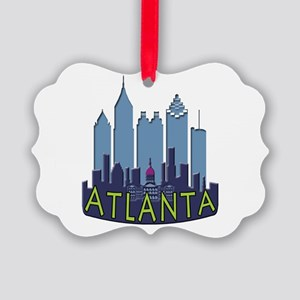 Atlanta Skyline Newwave Cool Picture Ornament
